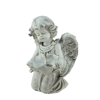 "9.5"" Heavenly Gardens Distressed Kneeling Cherub Angel Bird Feeder Outdoor Patio Garden Statue"""