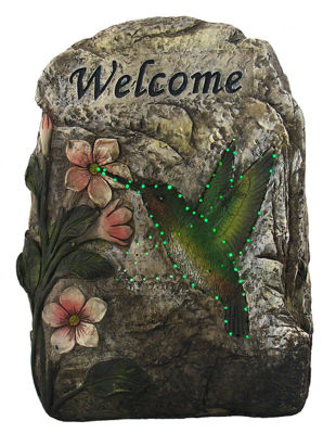 "9.5"" LED Lighted Solar Powered ""Welcome"" Hummingbird Outdoor Garden Stone"""