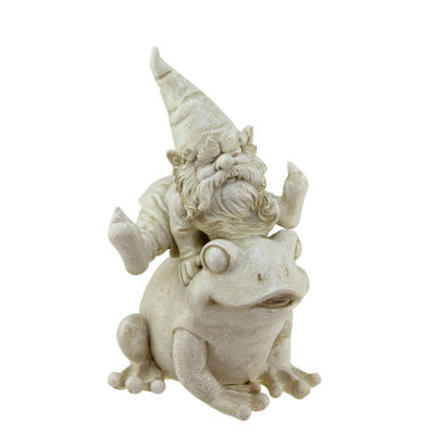 """9.75"""" Distressed Ivory Frog and Gnome Spring Outdoor Patio Garden Statue"""""""
