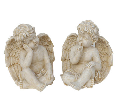 Set of 2 Weathered Stone Pensive Sitting Cherub Angel Outdoor Garden Statues 13""