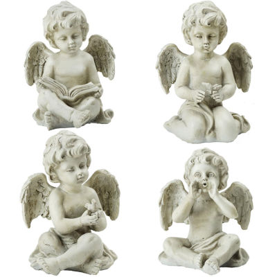 """Set of 4 Decorative Sitting Cherub Angel Outdoor Garden Statues 6.5"""""""