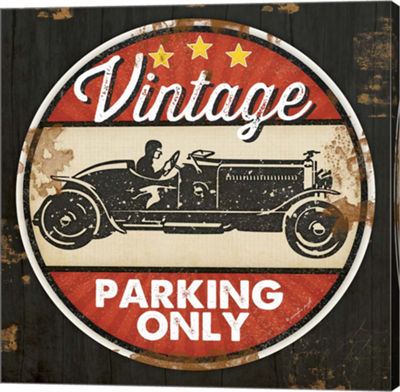 Metaverse Art Vintage Parking Gallery Wrapped Canvas Wall Art