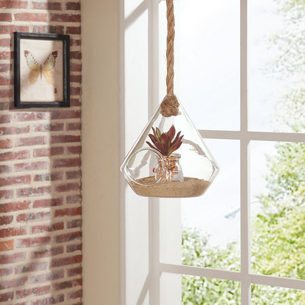 "Danya B. 8"" Diamond Shape Hanging Glass Planter with Rope"""