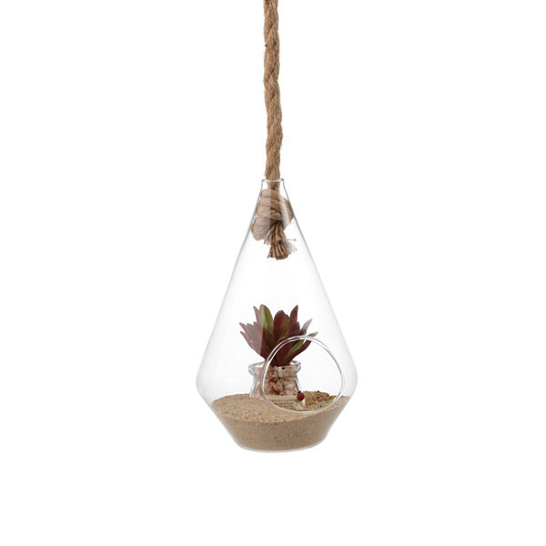 "Danya B. 10"" Diamond Shape Hanging Glass Planter With Rope"""