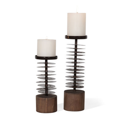 Danya B. Set Of 2 Eucalyptus Metal And Wood Candleholders