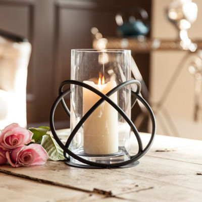 Danya B. Large Metal  and Glass Orbits Hurricane Candleholder