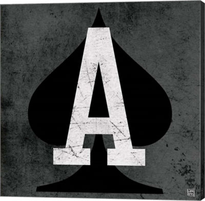 Metaverse Art Ace of Spades Gray Gallery Wrapped Canvas Wall Art