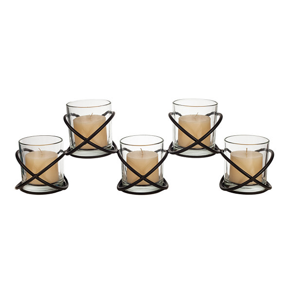 Danya B. Five Glass Multiple Candleholder on Orbits Metal Stand