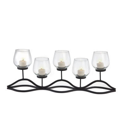 Danya B. Wavy Iron and Glass Hurricane Candleholder