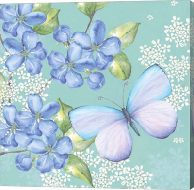 Metaverse Art Blue Floral Butterfly Gallery Wrapped Canvas Wall Art