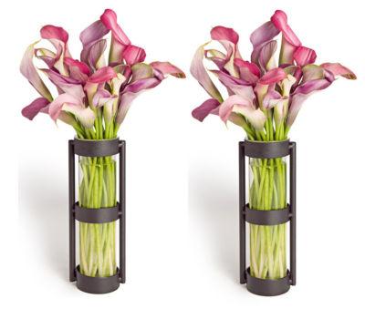 Danya B. Metal Stand Glass Cylinder Vases (Set Of 2)