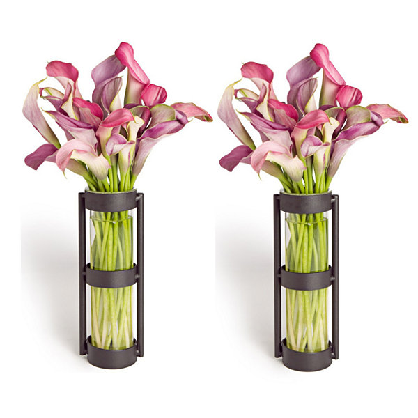 Danya B. Metal Stand Glass Cylinder Vases (Set Of 2)