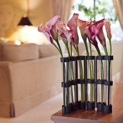 Danya B. Six-Tube Hinged Vases on Rings Stands