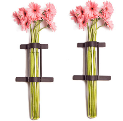 Danya B. Wall Mount Cylinder Glass Vases with Rustic Rings Metal Stand (Set of 2)