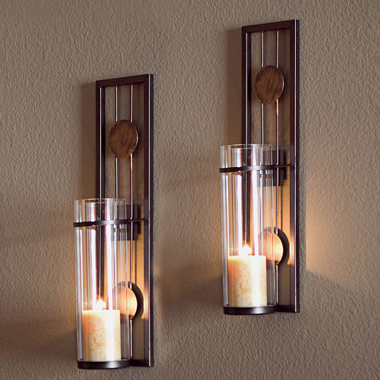Danya B. Set of Two Contemporary Metal Wall Sconces With Antique Patina Medallions