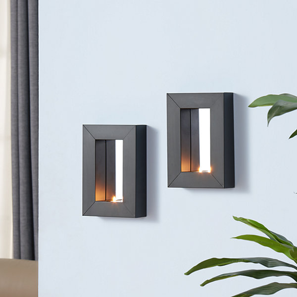 Danya B. Set of 2 Mirror Tealight Candle Sconces with Metal Frame
