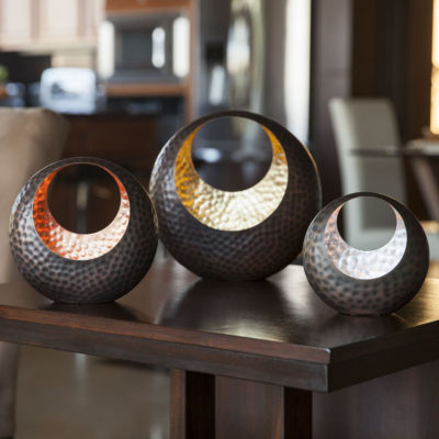 Danya B. Basket Shape Tea Light Holder Set with Gold Silver & Copper Leaf