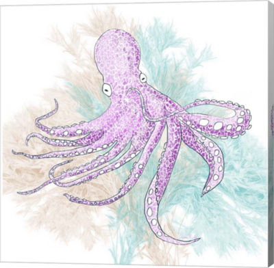 Metaverse Art Octopus Purple Gallery Wrapped Canvas Wall Art