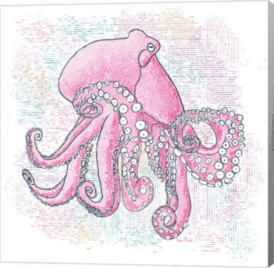 Metaverse Art Octopus Hot Pink Gallery Wrapped Canvas Wall Art