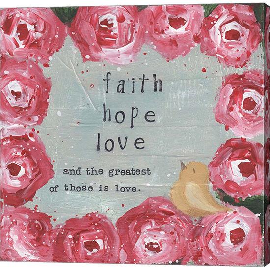 Metaverse Art Faith; Hope; Love Gallery Wrapped Canvas Wall Art