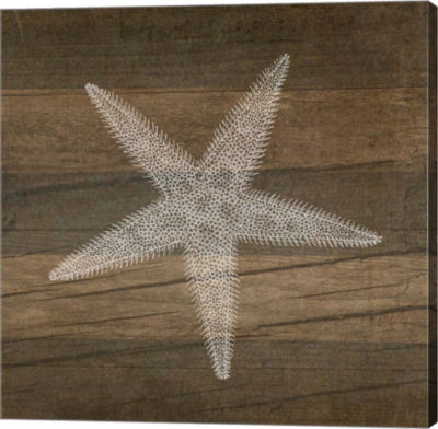 Metaverse Art Rustic Starfish - White Gallery Wrapped Canvas Wall Art