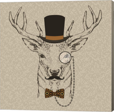Metaverse Art Deer-man by GraphINC (head) Gallery Wrapped Canvas Wall Art