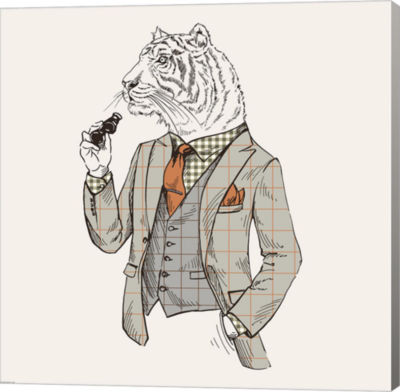 Metaverse Art Tiger-man Gallery Wrapped Canvas Wall Art