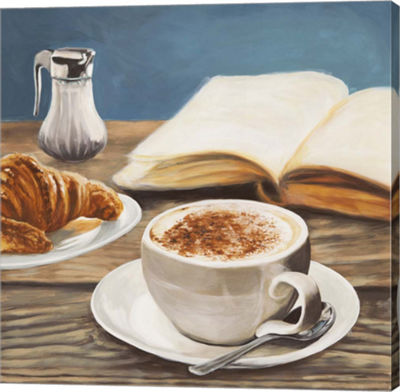 Metaverse Art Cappuccino & Book Gallery Wrapped Canvas Wall Art