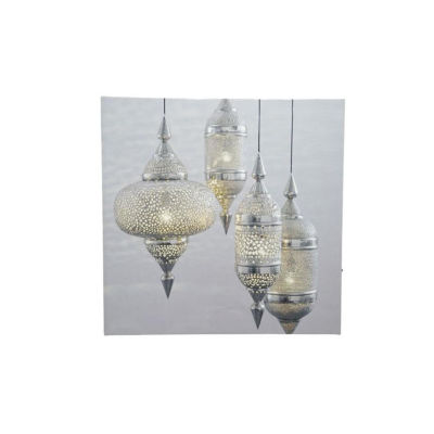 """LED Lighted Moroccan Inspired Hanging Finials Canvas Wall Art 11.75"""" x 11.75"""""""
