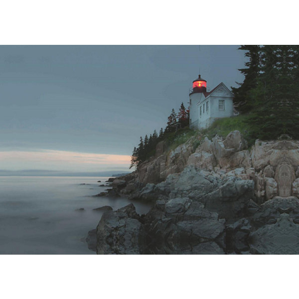 "LED Lighted Lighthouse Home with Morning Sunrise Canvas Wall Art 15.75"" x 23.5"""