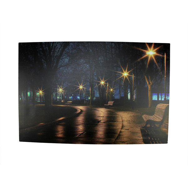 "LED Lighted Nighttime City Park Scene Canvas WallArt 15.75"" x 23.75"""