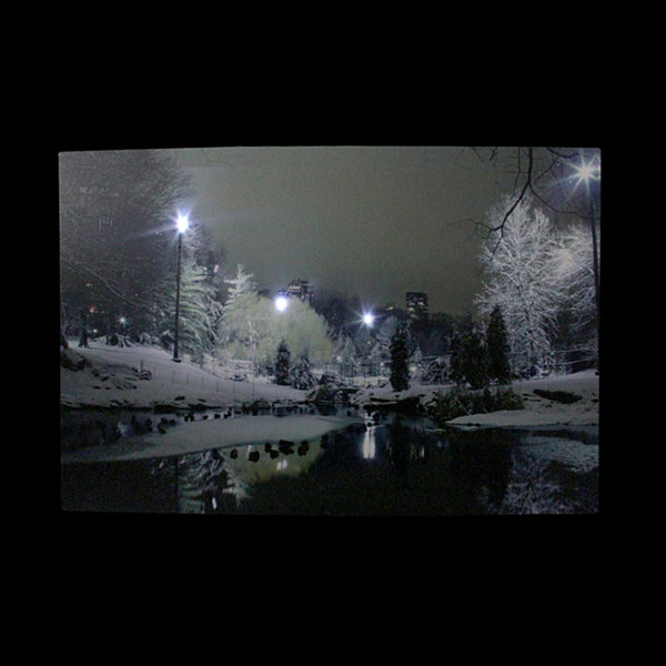 "LED Lighted Nighttime City Park Winter Scene Canvas Wall Art 15.75"" x 23.75"""