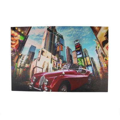 "LED Lighted NYC Times Square 7th Avenue Classic MGCar Canvas Wall Art 15.75"" x 23.5"""