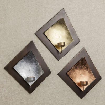 Danya B. Wall Tea Light Holder Set with Gold, Silver & Copper Leaf