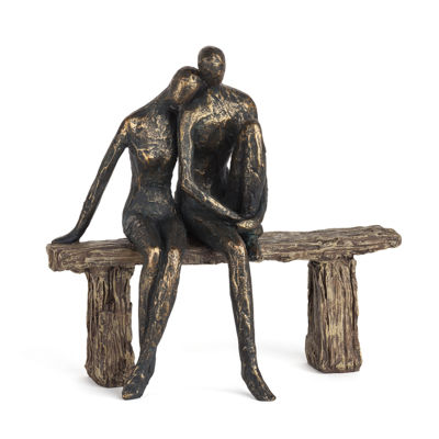 Danya B. Couple on Park Bench Resin Sculpture
