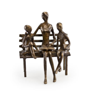 Danya B. Mother Reading to Children Bronze Sculpture