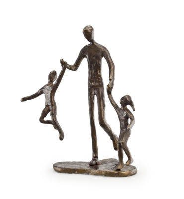 Danya B. Father with Two Children Bronze Sculpture