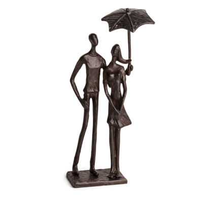 Danya B. Loving Couple Under Umbrella Bronze Sculpture