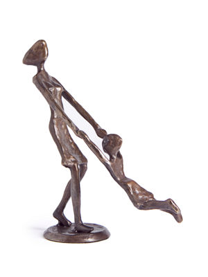Danya B. Mother Playing and Swinging Child Cast Bronze Sculpture Figurine