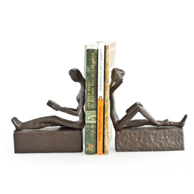 Danya B Man and Woman Reading Iron Bookends-Set of 2