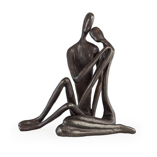 Danya B. Large Couple Embracing Cast Iron Sculpture