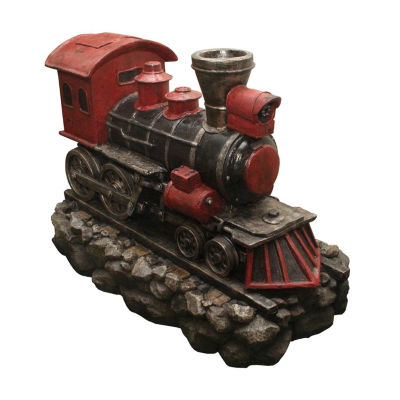 """38"""" LED Lighted Red and Black Vintage Locomotive Train Spring Outdoor Garden Water Fountain"""""""