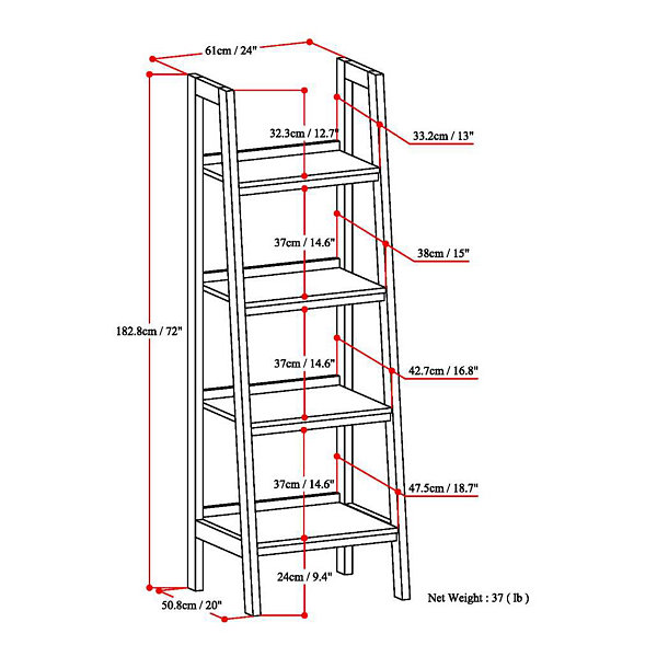 Sawhorse Ladder Shelf