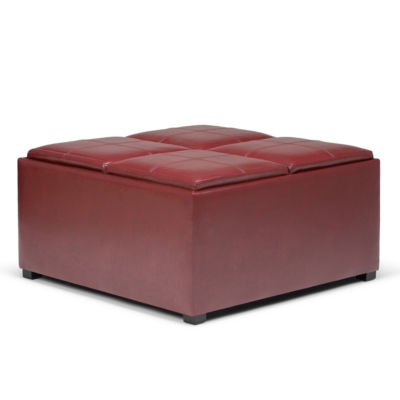 Avalon Coffee Table Storage Ottoman With 4 ServingTrays