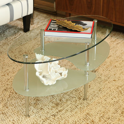 Glass Oval Wave Living Room Metal Coffee Table