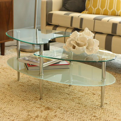 Glass Oval Marino Living Room Metal Coffee Table