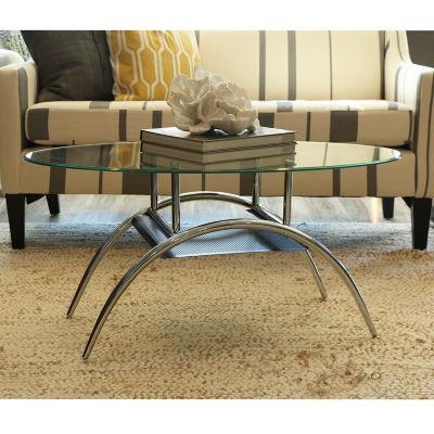 Glass Oval Edison Living Room Metal Coffee Table