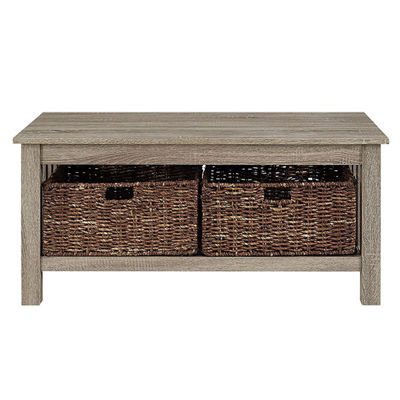 "40"" Wood Storage Coffee Table with Totes"
