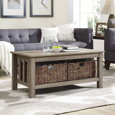 """40"""" Wood Storage Coffee Table with Totes"""