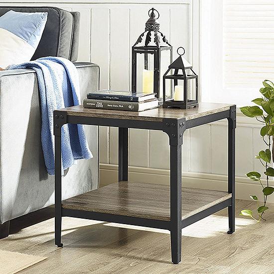 Set of 2 Angle Iron Rustic Wood End Table